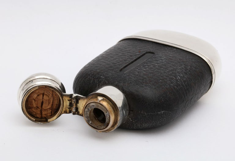 Edwardian Period Sterling Silver and Leather, Mounted Glass Flask For Sale 8