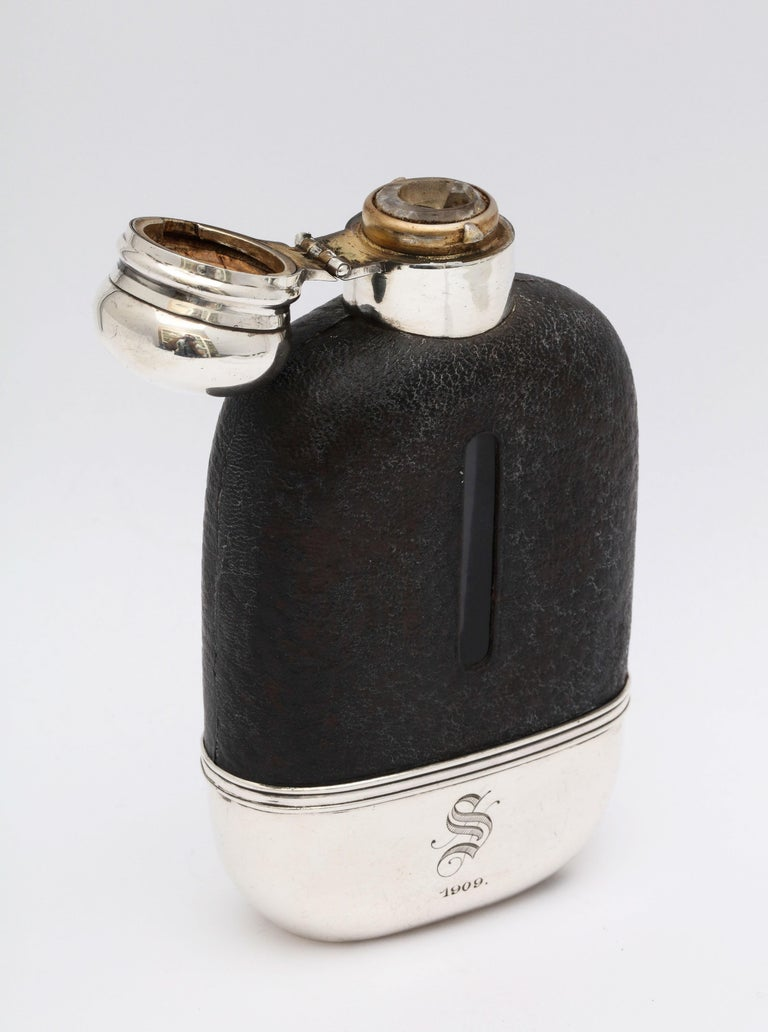 Edwardian Period Sterling Silver and Leather, Mounted Glass Flask For Sale 10
