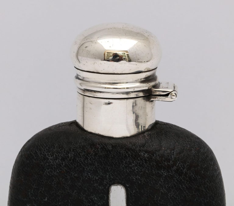 Early 20th Century Edwardian Period Sterling Silver and Leather, Mounted Glass Flask For Sale