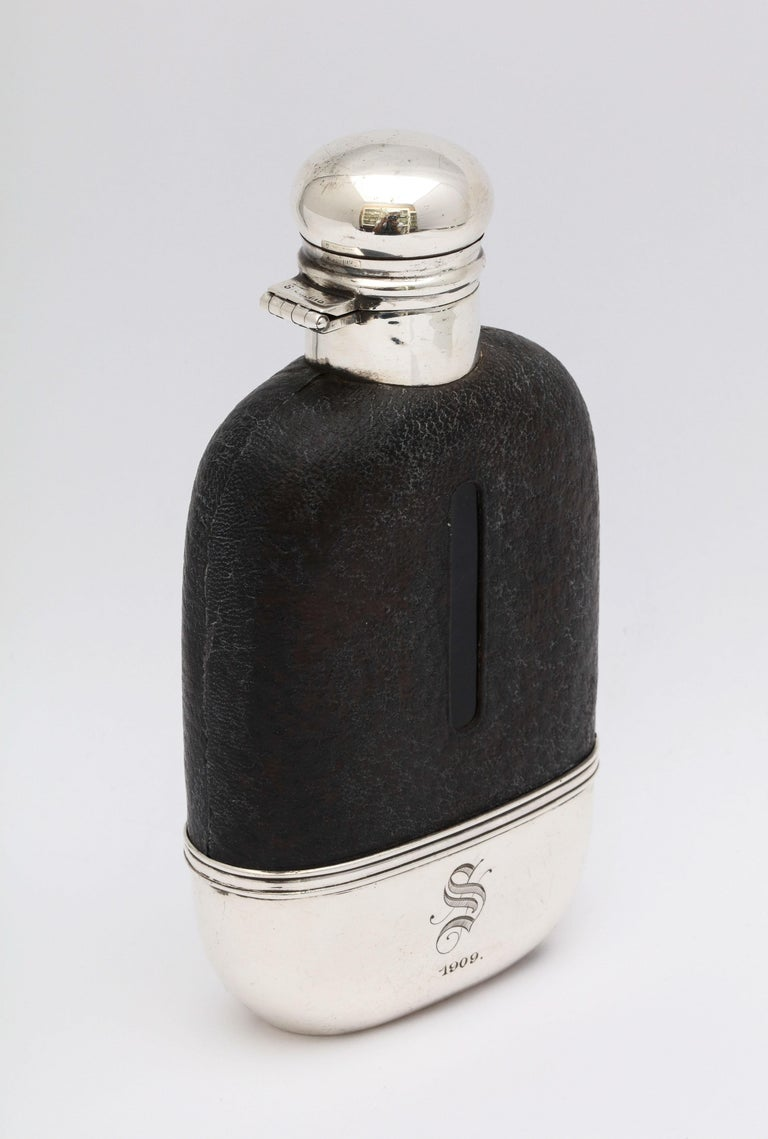 Edwardian Period Sterling Silver and Leather, Mounted Glass Flask For Sale 3