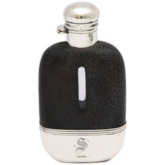 Edwardian Period Sterling Silver and Leather, Mounted Glass Flask