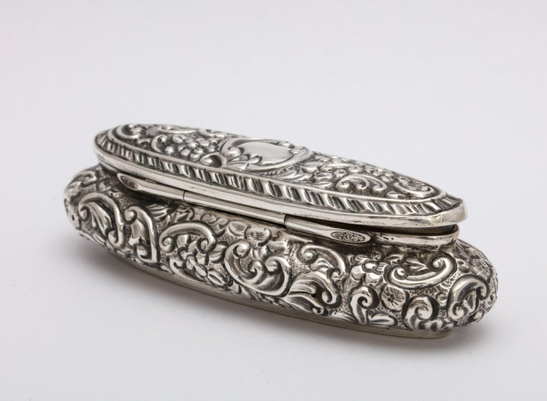 Gilt Edwardian Period Sterling Silver Oval Trinkets Box with Hinged Lid For Sale