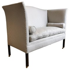 Edwardian Period Wingback Sofa Newly Upholstered in Striped Ticking