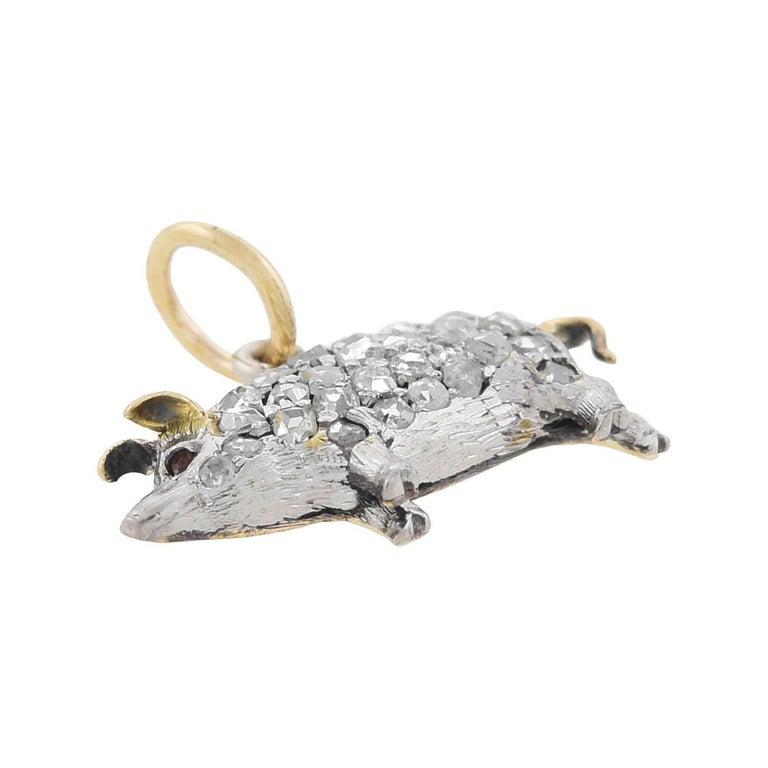 Women's Edwardian Petite Old Rose Cut Diamond Pig Charm Pendant For Sale