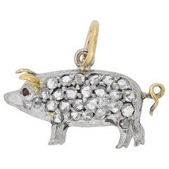 Edwardian Petite Old Rose Cut Diamond Pig Charm Pendant
