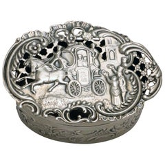 Edwardian Pierced and Repousse Hall Marked Silver  Box