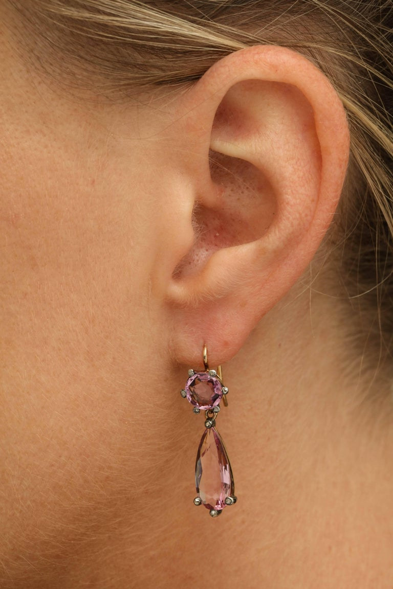 Edwardian Pink Topaz and Diamond Earrings For Sale 2