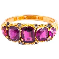 Edwardian Pink Tourmaline and Diamond 15 Carat Gold Five-Stone Ring
