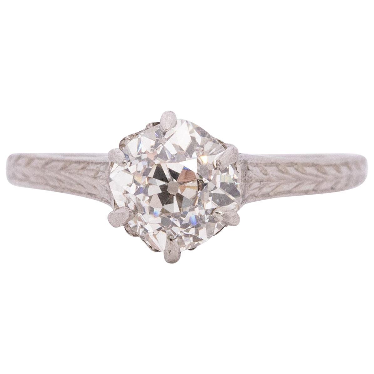 Edwardian Platinum 1.0 Carat Solitaire Diamond Cathedral Shank Engagement Ring