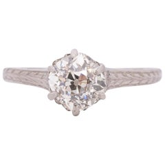 Edwardian Platinum 1.0 Carat Solitaire Diamond Cathedral Shank Engagement Ring