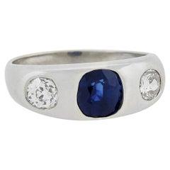 Edwardian Platinum 1.00 Carat Sapphire and Diamond 3-Stone Ring