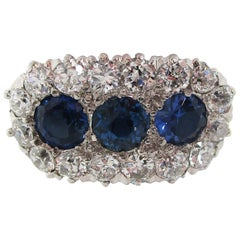 Edwardian Platinum 14 Karat Yellow Gold Diamond Sapphire Three-Stone Ring