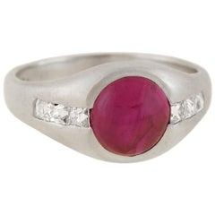 Edwardian Platinum 1.50 Carat Burmese Ruby and French Cut Diamond Ring