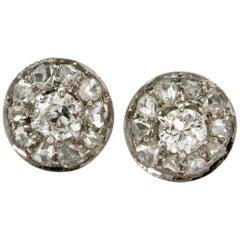 Edwardian Platinum 1.6 Carat Diamond Cluster Studs