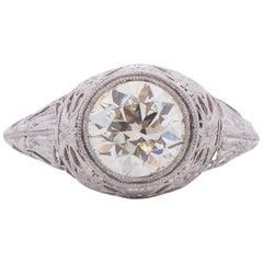 Edwardian Platinum 2.19 Carat Diamond Engagement Ring