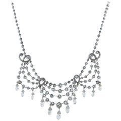 Edwardian Platinum 29.5 Carat Diamond Necklace
