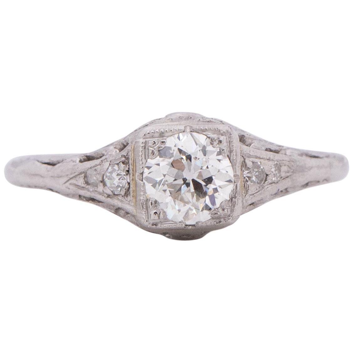 Edwardian Platinum .50ct Solitaire Illusion Head Vintage Engagement Ring