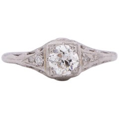Edwardian Platinum .50ct Solitaire Illusion Head Vintage Engagement Ring