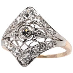 Edwardian Platinum and 14 Karat Gold Diamond Cocktail Ring