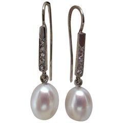 Edwardian Platinum and 18 Karat Gold Earrings with Rose Cut Diamonds and Pearls