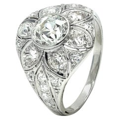 Edwardian Platinum and 2.8 Carat Old European Cut Diamond Flower Ring