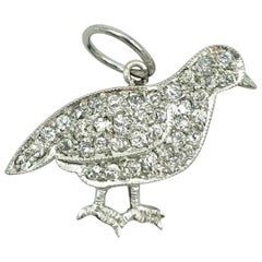 Edwardian Platinum and Diamond Chickadee Charm