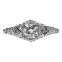 Edwardian Platinum and GIA Diamond Engagement Ring