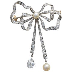 Edwardian Platinum, Diamond and Pearl Bow Brooch