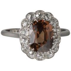 Edwardian Platinum Diamond and Zircon Ring