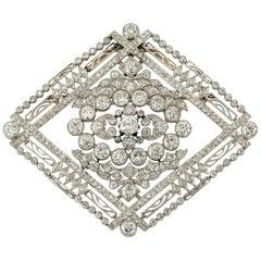 Edwardian Platinum Diamond Brooch, 1910s