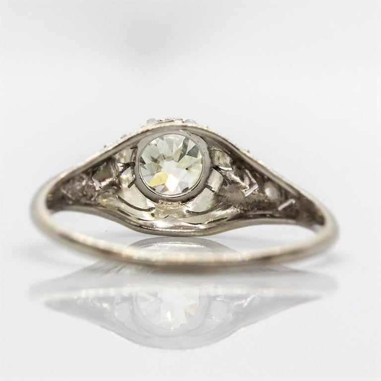 Old Mine Cut Edwardian Platinum Diamond Engagement Ring
