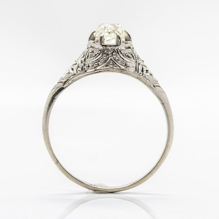 Women's or Men's Edwardian Platinum Diamond Engagement Ring