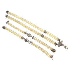 Edwardian Platinum Diamond Seed Pearl Sautoir and Bracelet Parure