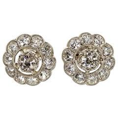 Edwardian Platinum Diamonds Earrings