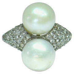 Edwardian Platinum Natural Pearl and Diamond Ring
