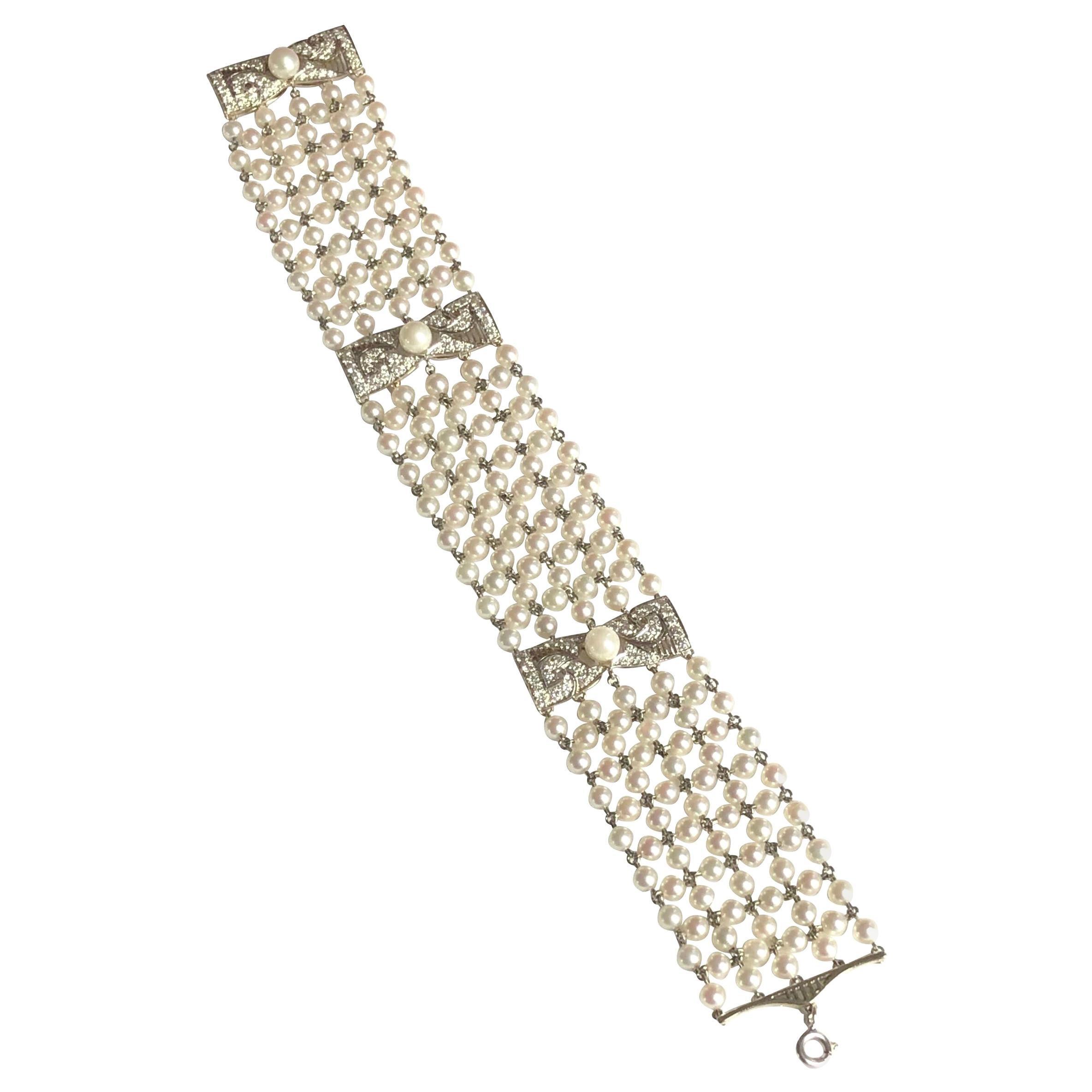 Edwardian Platinum Pearl and Diamond Bracelet