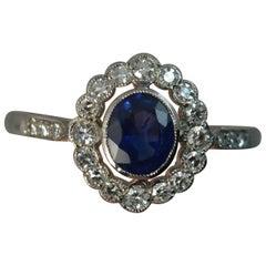Edwardian Platinum Sapphire Diamond Halo Engagement Cluster Ring