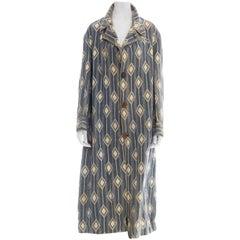 Edwardian Pomeroy's Inc Blue & White Wool Brocade Men's Antique Blanket Coat Wi