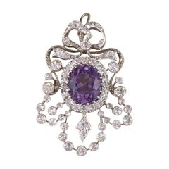 Edwardian Purple Spinel and Diamond Pendant Brooch in Platinum
