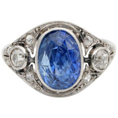 Edwardian Rare 5.40 Carat Natural No Heat Sapphire Diamond Platinum Trilogy Ring