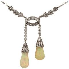 Edwardian Rare Australian Opal Drop Diamond Platinum Negligee Necklace