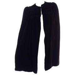 Edwardian Reversible Black Velvet Evening Cape with Shirring and Silk Lining
