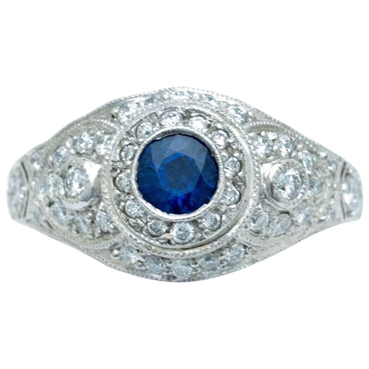Edwardian Revival Blue Sapphire Platinum Pave Diamonds Engagement Ring Dome
