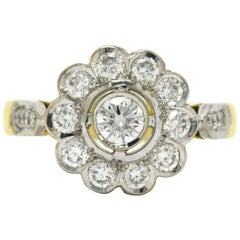 Edwardian Revival Diamond Engagement Ring Flower Cluster 1 Carat Platinum