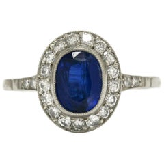 Edwardian Revival Sapphire Engagement Ring Oval Diamond Halo 2.25 Carat Total