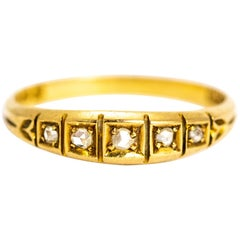 Edwardian Rose Cut Diamond 18 Carat Gold Band