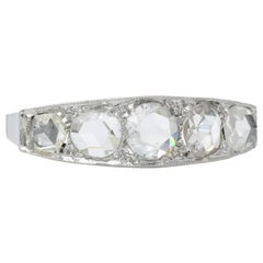 Edwardian 0.55 Carat Rose Cut Diamond Platinum Five Stone Band Ring