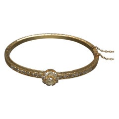 Edwardian Rose Gold Old European Cut Diamond Bangle Bracelet