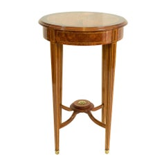 Edwardian Round Side Marquetry Mahogany Table from England