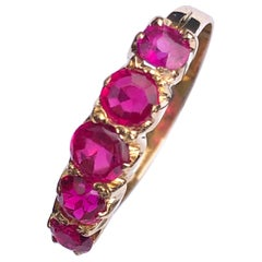Edwardian Ruby and 18 Carat Gold Five-Stone Ring
